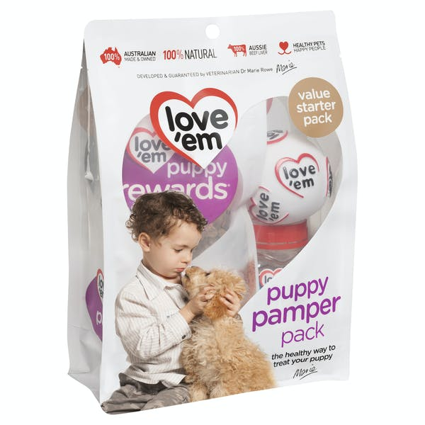 Love'em | puppy pamper pack | Indulge dog | Front of pack
