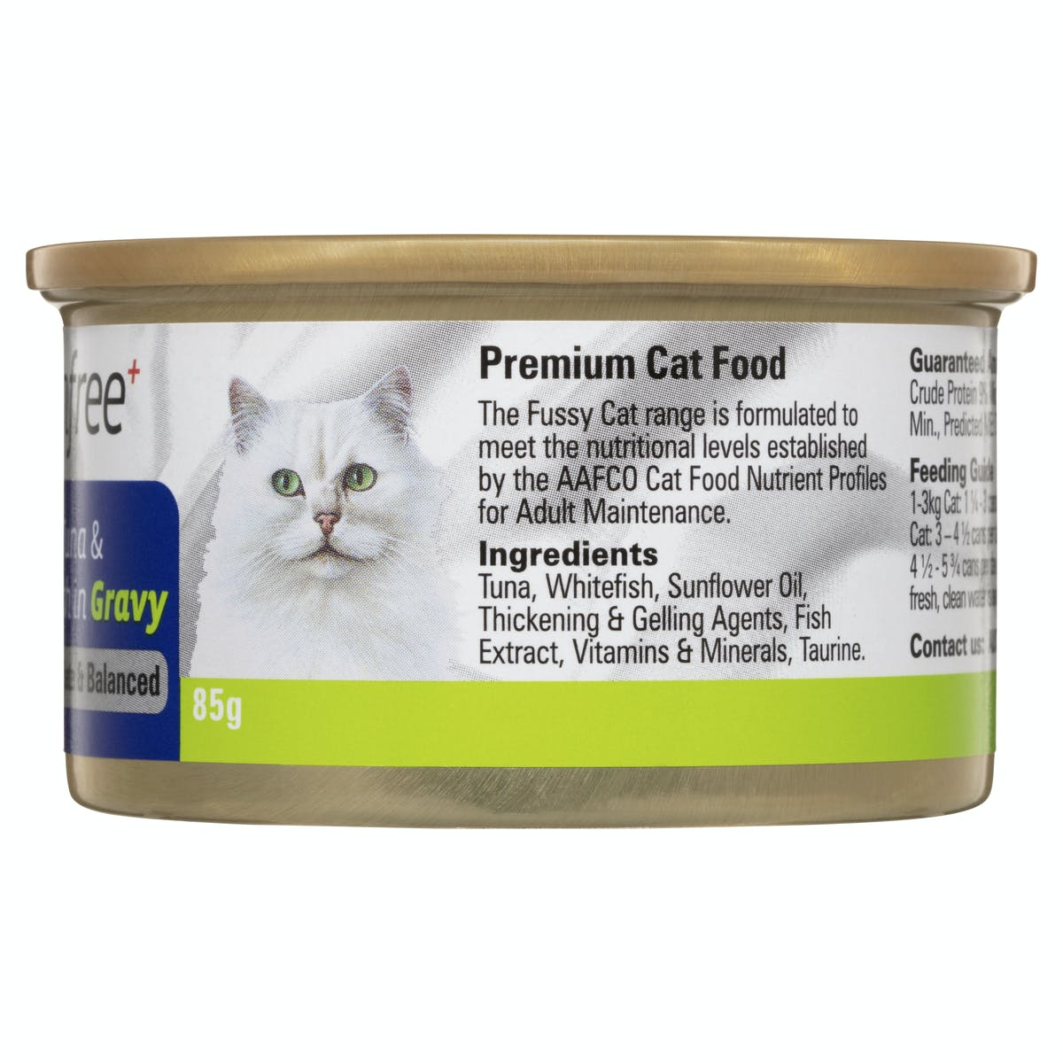 Fussy Cat | Flaked Tuna & Whitefish in Gravy 85g | Wet Cat Food | Back of pack