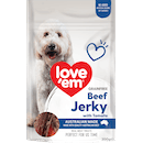 Love'em | Grainfree Beef Jerky with Tomato | Indulge dog | Front of pack