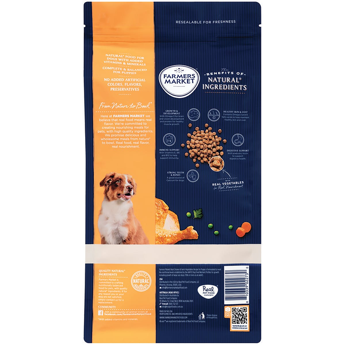 Farmers Market | Real Chicken & Farm Vegetables | Dry dog food | Front of pack