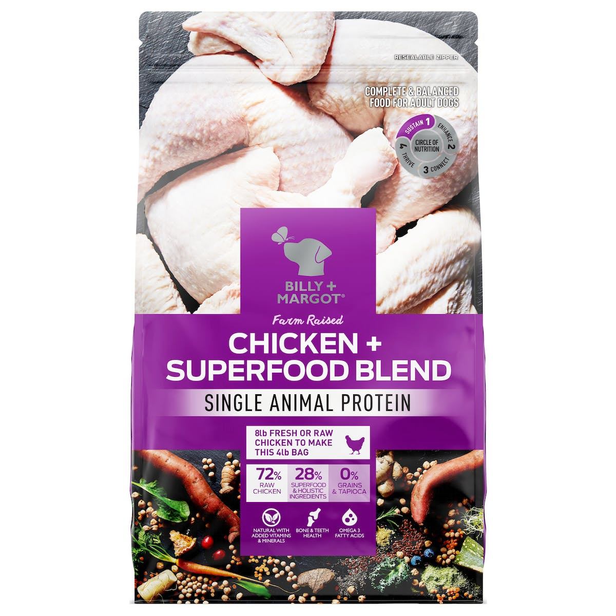 Billy + Margot® | Chicken + Superfood Blend | Dry Dog Food | Front of pack