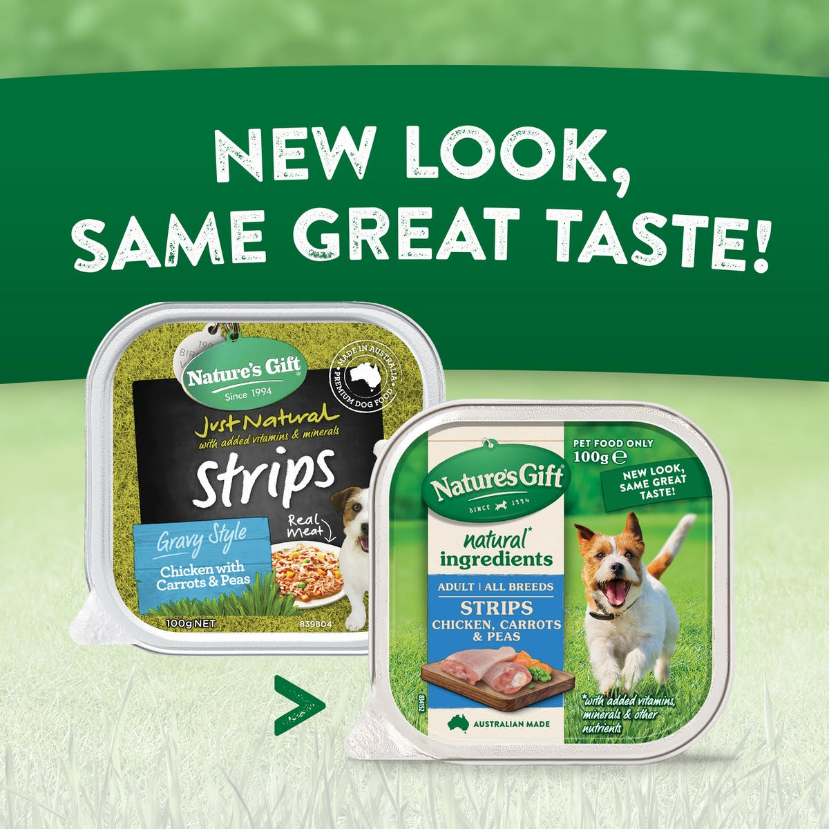 Nature's Gift | Chicken, Carrots & Peas | Wet dog food | Back of pack