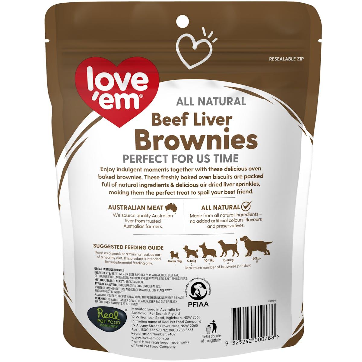 Love'em | Beef Liver Brownies | Indulge dog | Front of pack