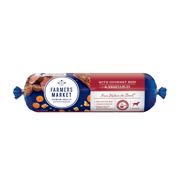 Farmers Market | Beef and Vegetables | Chilled dog food | Front of pack