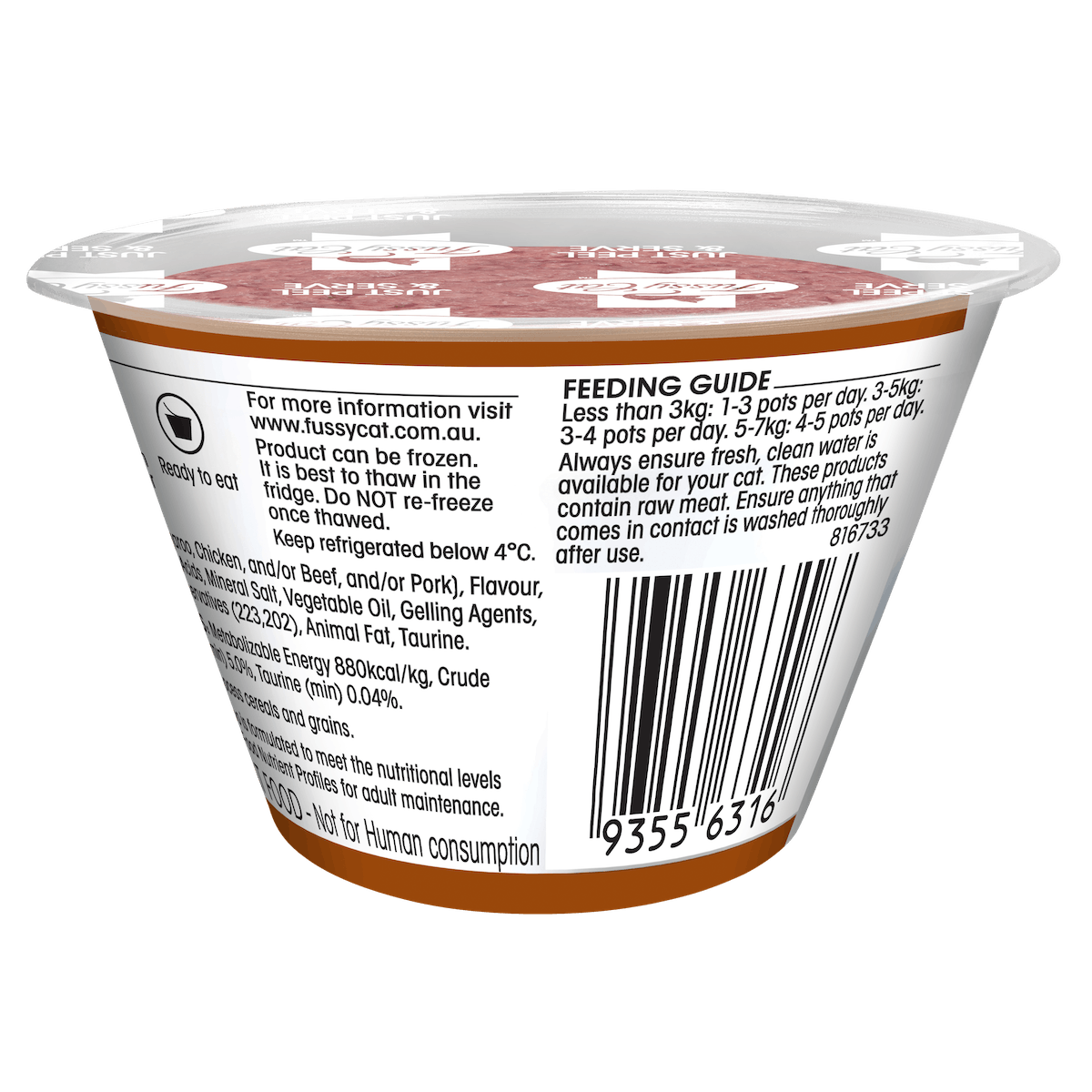 Fussy Cat | Tartare with Kangaroo 70g | Chilled cat food | Back of pack