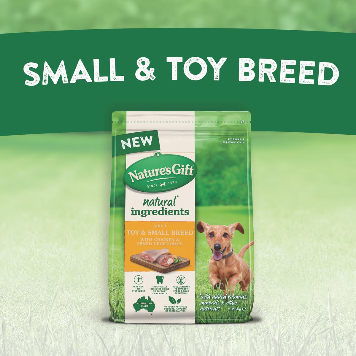Nature's Gift | Toy & Small Breed with Chicken & Mixed Vegetables | Dry dog food | Back of pack