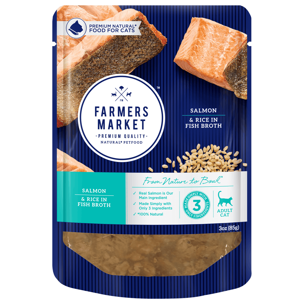 Farmers Market | Salmon and Rice in Fish Broth | Wet Cat Food | Front of pack