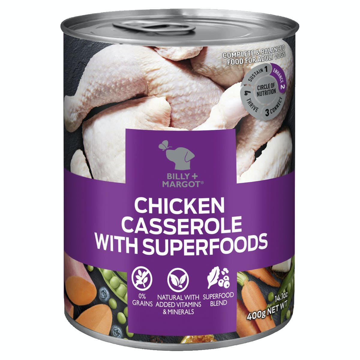 Billy + Margot® | Chicken Casserole With Superfoods | Wet dog food | Front of pack