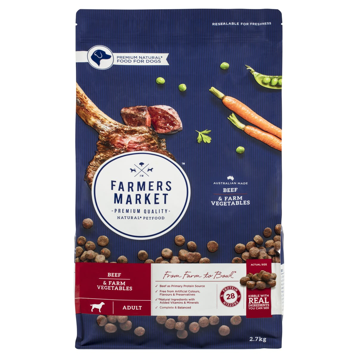 Farmers Market   Beef & Farm Vegetables   Dry dog food   Front of pack