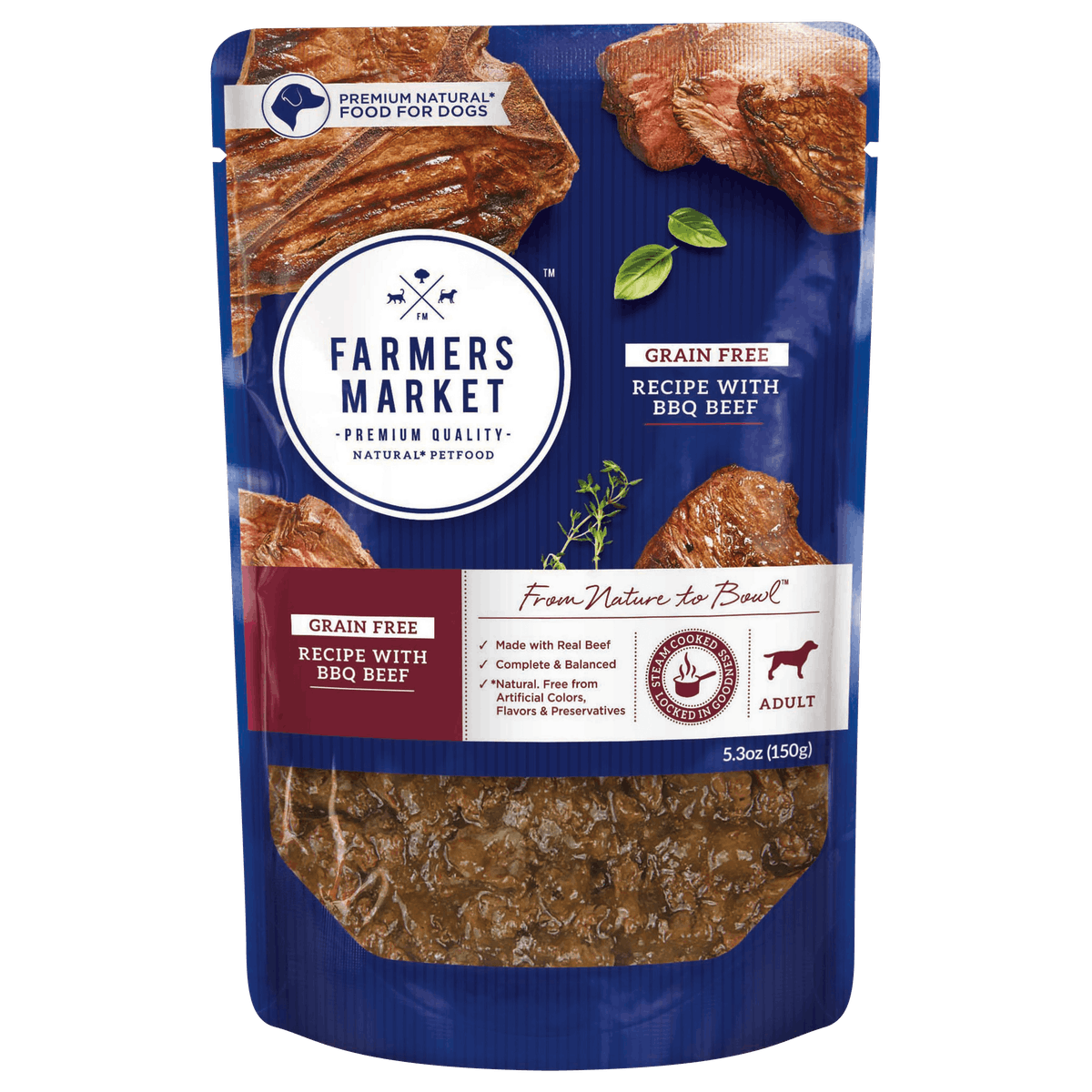 Farmers Market | Grain-Free with BBQ Beef | Wet dog food | Front of pack