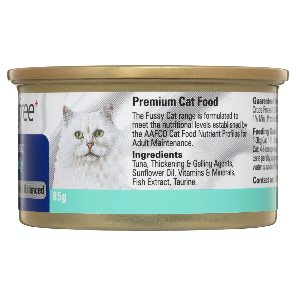 Fussy Cat | Flaked Tuna in Soft Jelly 85g | Wet Cat Food | Back of pack