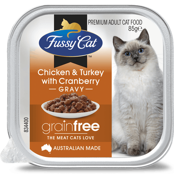 Fussy Cat | Chicken and Turkey with Cranberry 85g | Wet Cat Food | Front of pack
