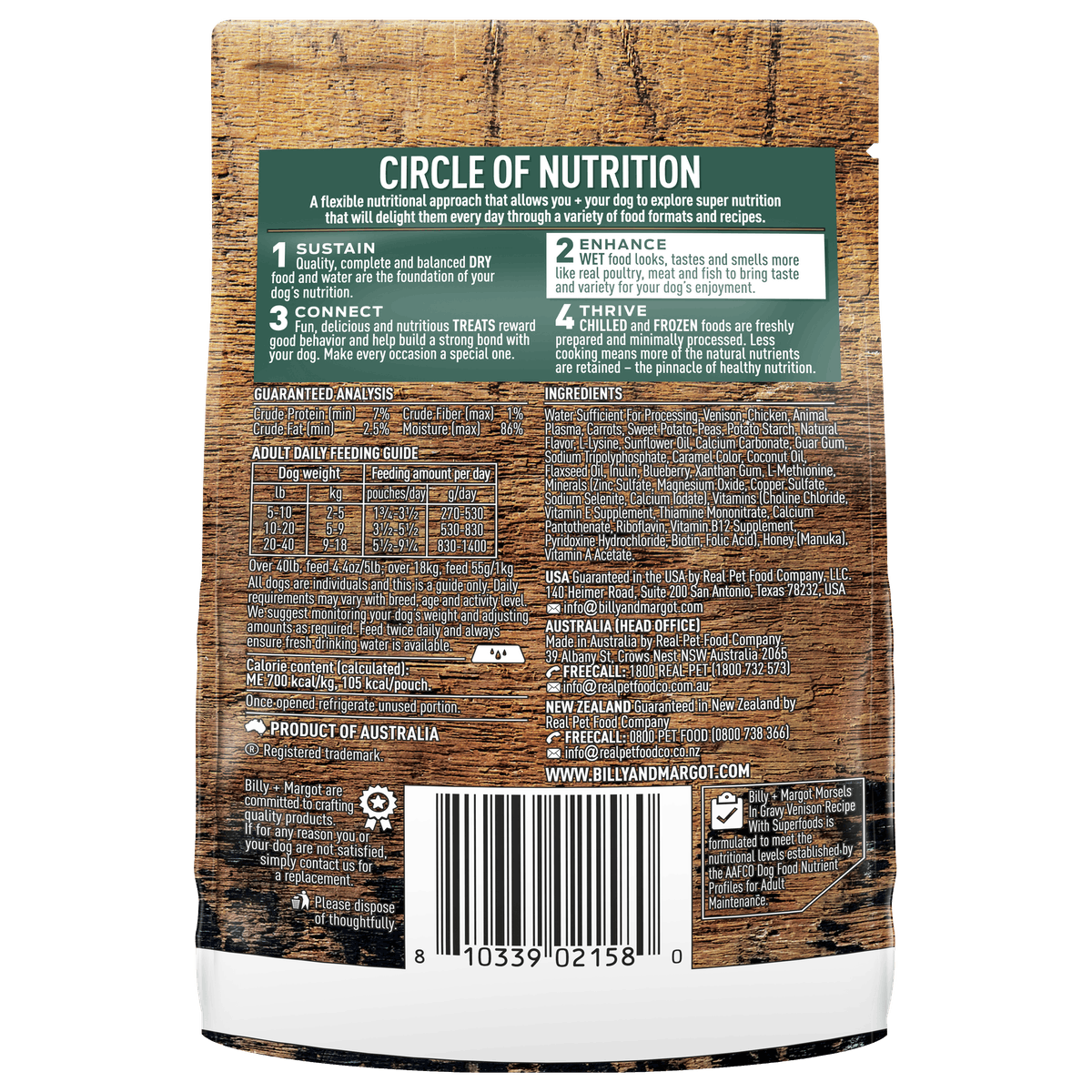 Billy + Margot® | Venison Recipe with Superfoods | Wet Dog Food | Back of pack