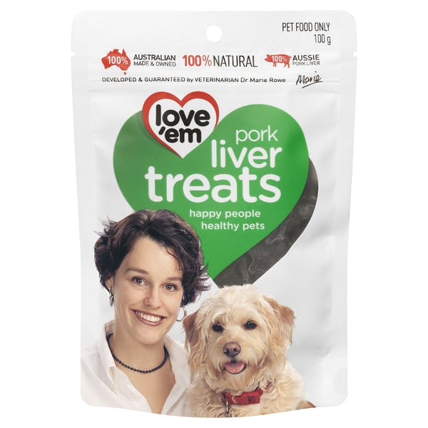 Love'em | pork liver treats | Indulge dog | Front of pack