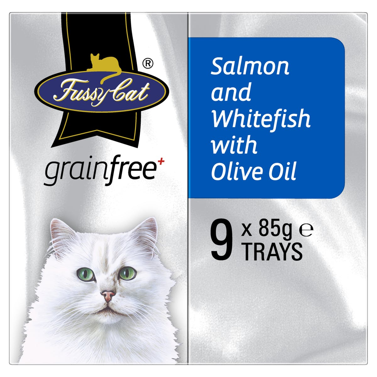 Fussy Cat | Salmon and Whitefish with Olive Oil 9 x 85g | Wet Cat Food | Left of pack